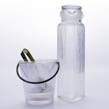 ISI decanter and ice bucket, Lennart Andersson (Gullaskruf, 1960s) - Art Glass
