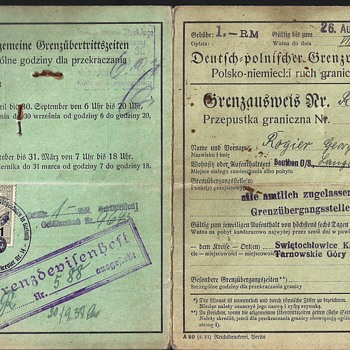 German 1937 border-crossing passport/permit - Paper