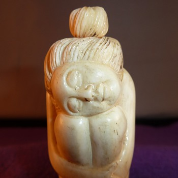 Antique & very Naughty Japanese Ox Bone Carved Snuff Bottle. Naked Female Form..