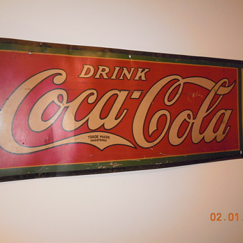 "1927 Cardboard  Coca Cola Sign by MCA Sign Co. Massillon, Ohio  60""x21"" - Coca-Cola"