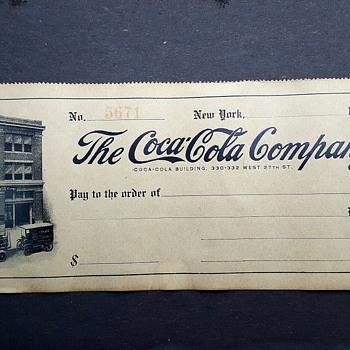 Early 20th Century Coca Cola Cheque (?)