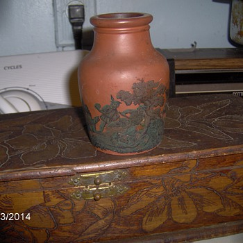Antique Stoneware Small Vase Hand Etching Front