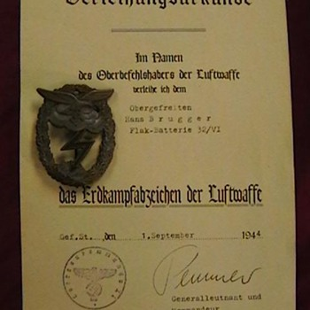 WW II German Luftwaffe Ground Combat Badge and Certificate - Military and Wartime