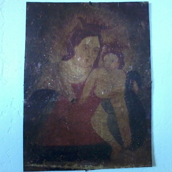 """Retablo""(?), Mexican or Spanish Religious Painting on Metal - Folk Art"