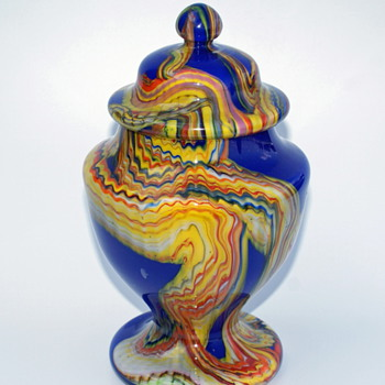 Kralik Marbled -or- Kaleidoscope Candy Dish - Art Glass