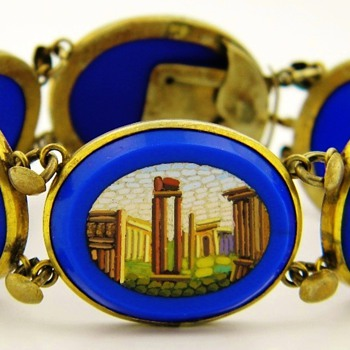 Antique Victorian Micro Mosaic Royal Blue Gilt Panel Bracelet - Fine Jewelry