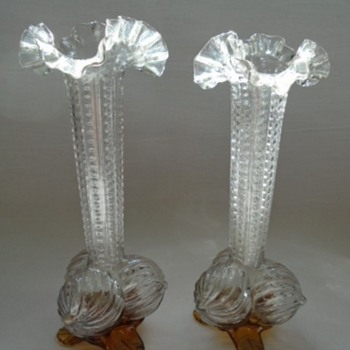 Welz Clear Glass Ribbed Three Ball Vases