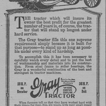 1919 Gray Tractor Advertisement - Advertising