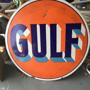 "1920's GULF sign porcelain 42"" Thanks Manikin!!!"