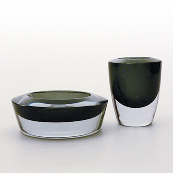 Strömbergshyttan H95 ashtray and cigarette case set - Art Glass