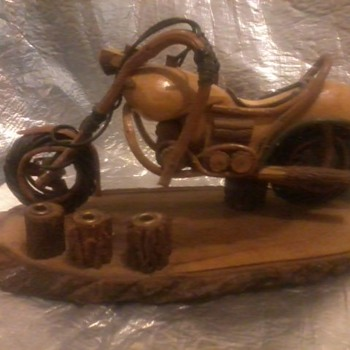 wooden motorcycle (handmade) desktop pen stand?