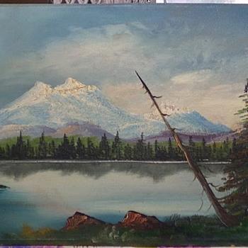 Vintage Mountain Lake Painting  - Visual Art