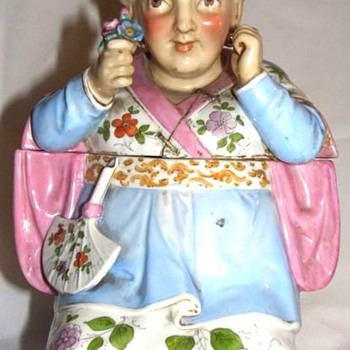 VERY OLD MEISSEN ? FIGURAL TOBACCO JAR - Tobacciana