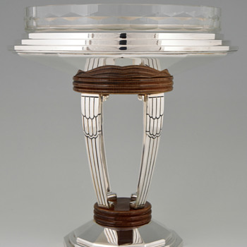 My Favorite Art Deco Durousseau et Raynaud Silver Plated, Wood & Finely Cut Glass Centerpiece - Art Deco