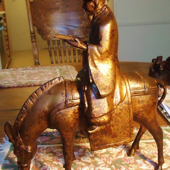 Chinese bronze, Holy Man on Burro, 7.6 lbs. - Asian