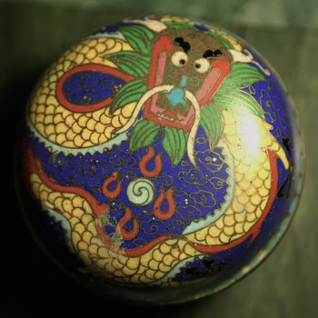 Chinese Cloisonne Dragon Covered Box - Asian
