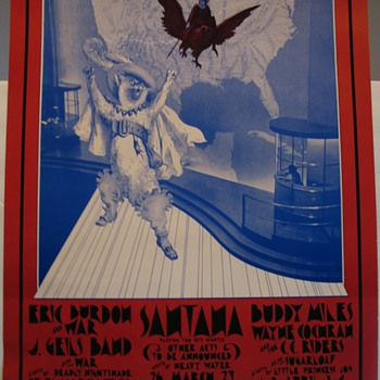 BG275 Poster-Eric Burdon & War,  J. Geils Band, Santana 1971 Fillmore West & Winterland