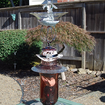 Jozefina ArtGlass Used in Bird Bath -- Can You Find the Piece??? - Art Glass