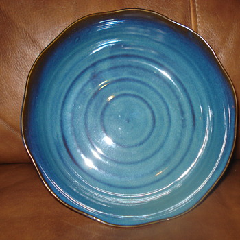 CUTE! SMALL BLUE GLAZED CERAMIC PLATE - China and Dinnerware