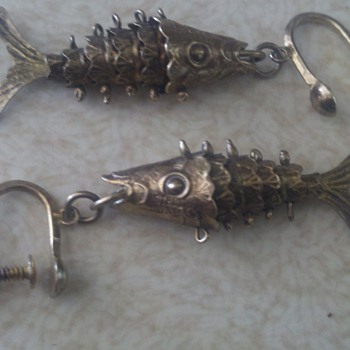 Vintage Japanese sterling fish earrings