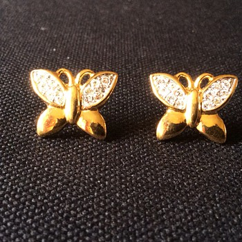 Vintage Gold and stones butterfly earrings