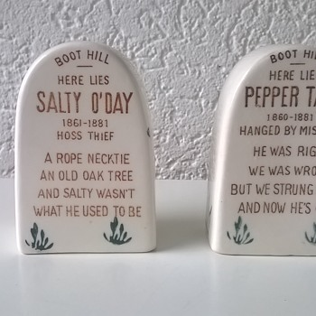 1950s Boot Hill Tombstone Salt And Pepper Shakers Thrift Shop Find $1.00 - Art Pottery