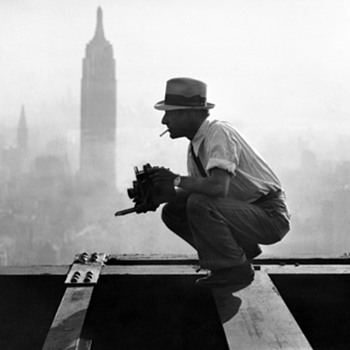 "Charles C. Ebbets in 1932 the day he took the famous ""Men on a Beam"" image of 11 steelworkers having lunch above the Manhattan. - Photographs"