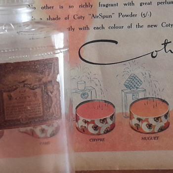 1906 Coty Eau De Toilette perfume bottle & 1949 Coty add from Womans Day