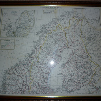 British WW11 silk escape map, Scandinavia and the Baltic.