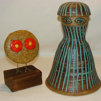 Studio Pottery Woman Lady Bell Shape And Owl Artwork Sculpture MCM