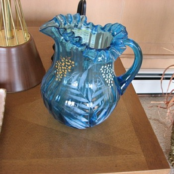 Blue Glass Pitcher Unknown Maker Bohemian? Carnival? Need Help! :-) - Glassware
