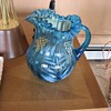 Blue Glass Pitcher Unknown Maker Bohemian? Carnival? Need Help! :-)