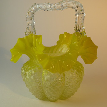 Yellow Bohemian glass basket