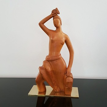 Art Deco walnut rare Laszlo Hoenig sculpture