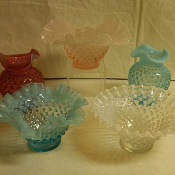 ULTRA RARE FENTON ROSE OVERLAY HOBNAIL TRI CRIMP BOWL - Glassware