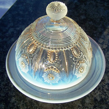 Northwood Jewel and Flower Opalescent Butter Dish - Glassware