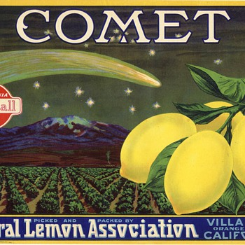 Comet crate label Villa Park Orange County California 1930s - Advertising
