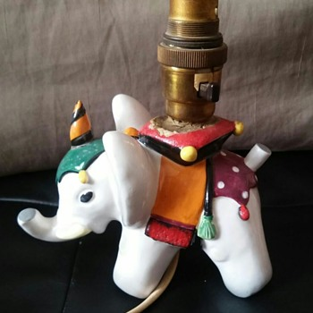 Italian Ceramic Elephant converted to Table Lamp
