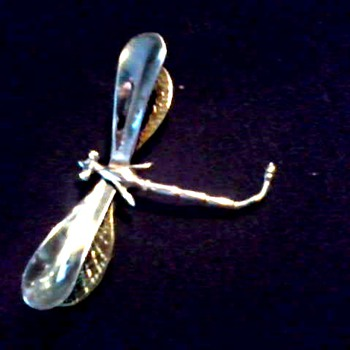 Large Silver and Gold Dragonfly Brooch /Marked .925 with Hallmarks Illegible/ Circa 20th Century