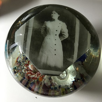 Vintage Paperweight Picture of lady Any ideas Trumpets inside  - Art Glass