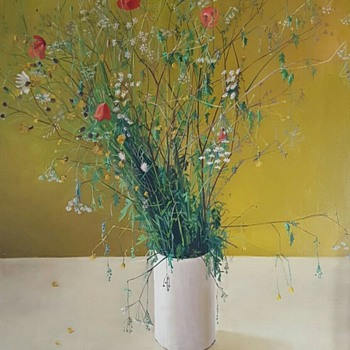 Wild flowers in a vase oil on canvas. - Visual Art