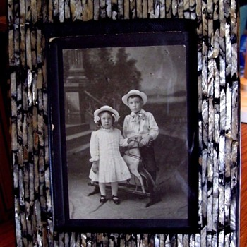 1890s Kid's W/ Rocking Horse Cabinet Photo,In MOTHER OF PEARL INLAY FRAME - Photographs