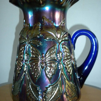 Butterfly & Fern Pitcher - Blue - Glassware