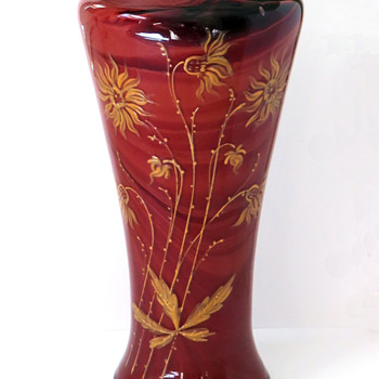 Unusual Enameled Rindskopf Red Marbled Vase