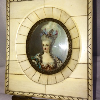 Antique Miniature Ivory Handpainted Painting Signed  - Furniture