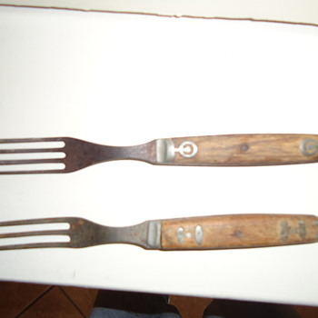 Old forks with wood handles. - Kitchen