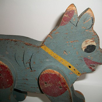 Wood Folk Art Dog Pull Toy in Original Blue Paint Handmade - Folk Art