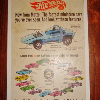 1968 Hot Wheels Ad - Original 16 - Advertising