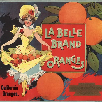 La Belle Orange Crate Label Southern California probably Riverside c.1890s - Art Nouveau