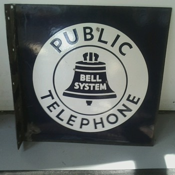 Bell System Public Telephone Flange Sign